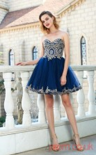 Navy Blue Tulle A-line Mini Sweetheart Graduation Dress(JT2443)