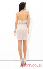 Pink Lace Sheath Mini Halter Graduation Dress(JT2445)