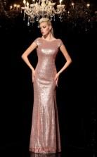 Pink Sequined Trumpet/Mermaid Short Sleeve Scoop Floor-length Formal Prom Dress(JT2466)