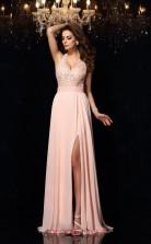 Pink Chiffon Trumpet/Mermaid V-neck Floor-length Formal Prom Dress(JT2478)