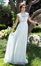 Sky Blue Chiffon A-line Short Sleeve Scalloped Floor-length Formal Prom Dress(JT2480)