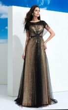 Black Lace , Sequined A-line Short Sleeve Bateau Floor-length Formal Prom Dress(JT2491)