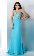 Jade Satin Chiffon Halter Floor-length ColumnProm Dress(JT2523)