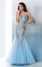Sky Blue Chiffon V-neck Floor-length Trumpet Prom Dress(JT2537)