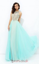 Light Jade Chiffon Halter Floor-length A-line Prom Dress(JT2541)