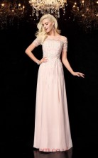 Blushing Pink Chiffon Illusion Short Sleeve Floor-length A-line Prom Dress(JT2550)