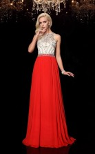 Orange Red Chiffon Illusion Sweep Train A-line Prom Dress(JT2554)