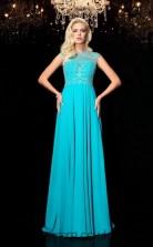 Jade Chiffon Jewel Short Sleeve Floor-length A-line Prom Dress(JT2558)