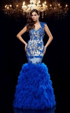 Light Royal Blue Tulle V-neck Short Sleeve Floor-length Mermaid Prom Dress(JT2563)