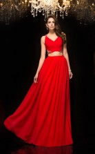 Red Chiffon V-neck Floor-length A-line Two Piece Prom Dress(JT2564)