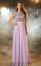 Lilac Chiffon Jewel Short Sleeve Floor-length A-line Prom Dress(JT2600)