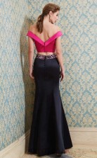 Trumpet/Mermaid Satin Black Off The Shoulder Short Sleeve Floor-length Two Piece Prom Dress(JT2611)