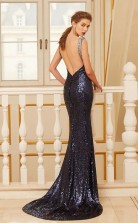 Trumpet/Mermaid Sequined Navy Blue V-neck Long Formal Prom Dress(JT2642)