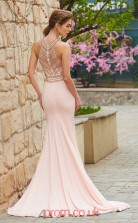 Trumpet/Mermaid Satin Chiffon Blushing Pink Halter Long Prom Dress(JT2648)