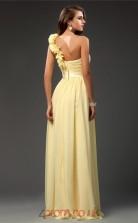 A-line Chiffon Yellow One Shoulder Floor-length Formal Prom Dress(JT2654)