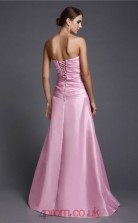 Sheath/Column Stretch Satin Pink Strapless Floor-length Formal Prom Dress(JT2661)