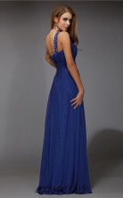 A-line Chiffon Blue One Shoulder Floor-length Formal Prom Dress(JT2672)