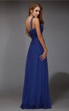 A-line Chiffon Blue One Shoulder Floor-length Formal Prom Dress(JT2672)