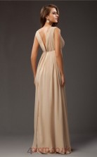 A-line Chiffon Champagne V-neck Floor-length Formal Prom Dress(JT2690)