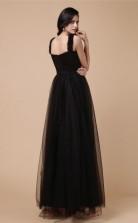 A-line Tulle Black Strapless Floor-length Formal Prom Dress(JT2692)