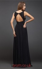 Black Chiffon A-line V-neck Floor-length Prom Formal Dresses(JT2702)