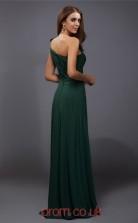 Dark Green Chiffon Sheath/Column One Shoulder Floor-length Prom Formal Dresses(JT2707)