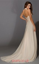 Beige Chiffon A-line V-neck Floor-length Evening Dresses(JT2708)