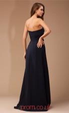 Black Chiffon A-line Strapless Floor-length Prom Formal Dresses(JT2714)