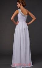 White Chiffon A-line One Shoulder Floor-length Evening Dresses(JT2732)