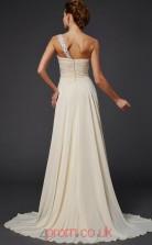 Beige Chiffon A-line One Shoulder Floor-length Evening Dresses(JT2735)