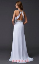 White Chiffon Trumpet/Mermaid Jewel Floor-length With Split Side Evening Dresses(JT2751)