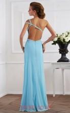 Light Pool Chiffon Trumpet/Mermaid One Shoulder Floor-length With Split Side Evening Dresses(JT2765)