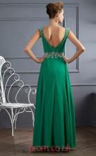 Green Chiffon A-line v-neck Floor-length Evening Dresses(JT2776)