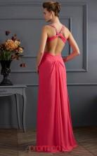 Watermelon Chiffon Sheath/Column Halter Floor-length With Split Front Prom Formal Dresses(JT2779)