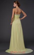 Yellow Chiffon A-line Sweetheart Floor-length Evening Dresses(JT2781)