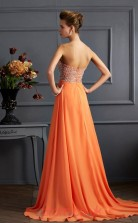 Orange Chiffon A-line Sweetheart Floor-length Evening Dresses(JT2783)