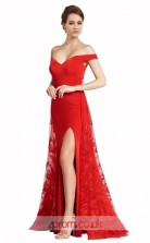 Red Satin Chiffon Lace Mermaid Off The Shoulder Short Sleeve Long Prom Dress With Split Side(JT3551)