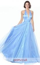 Sky Blue Tulle Stretch Satin A-line V-neck Halter Long Prom Dress(JT3556)