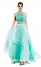 Jade Lace Chiffon A-line Halter Long Two Piece Prom Dress(JT3557)