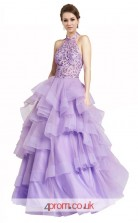 Lilac Organza Lace A-line Halter Long Prom Dress(JT3561)