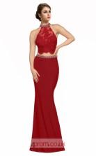 Burgundy Lace Satin Chiffon Mermaid Halter Long Two Piece Prom Dress(JT3567)