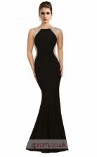 Black Satin Chiffon Mermaid Bateau Long Prom Dress(JT3572)