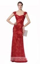 Burgundy Lace Mermaid Straps Long Prom Dress(JT3573)