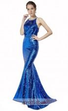 Blue Sequined Mermaid Halter Long Prom Dress(JT3574)