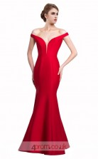 Red Satin Mermaid Off The Shoulder Short Sleeve Long Prom Dress(JT3582)