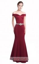 Dark Burgundy Satin Mermaid Off The Shoulder Short Sleeve Long Prom Dress(JT3583)