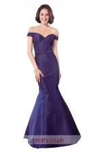 Regency Taffeta Mermaid Off The Shoulder Short Sleeve Long Prom Dress(JT3586)