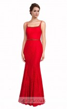 Red Lace Mermaid Square Long Prom Dress(JT3588)