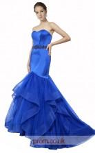 Blue Satin ,Organza Tulle Mermaid Sweetheart Long Prom Dress(JT3589)