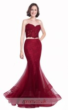 Dark Burgundy Lace Tulle Mermaid Sweetheart Long Two Piece Prom Dress(JT3591)